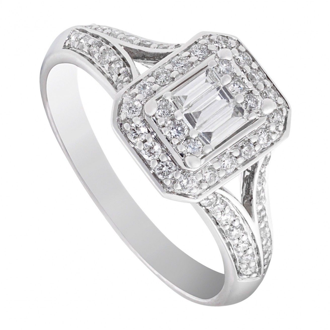 White Gold Wedding Band Melbourne: 9ct White Gold 0.50 Carat Diamond Split Shoulder Ring