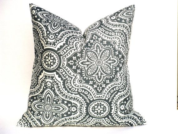 gray pillow decorative pillow covers dark gray pillows euro sham damask accent pillow toss. Black Bedroom Furniture Sets. Home Design Ideas