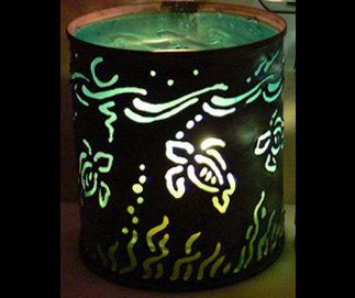 Turtle - candle holder - Recycled tin can freehand torch cut metalwork from New Mexico. $25.00, via Etsy.