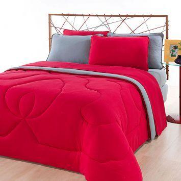 04946176a7 Jogo de Cama Casal City Home Color Liso Vermelho e Liso Cinza Brilhante  Roupa de Cama