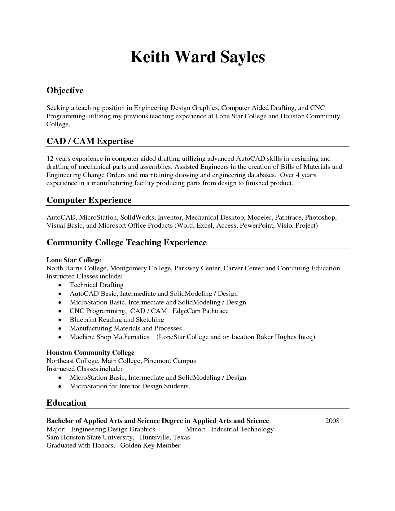 resume examples for managers position