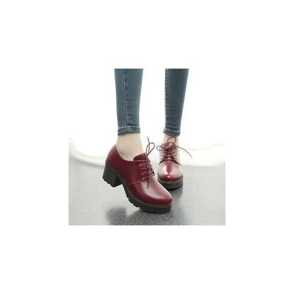 Wello Faux-Leather Block Heel Oxford Shoes ($26) ❤ liked on Polyvore featuring shoes, oxfords, footware, red mid heel shoes, synthetic leather shoes, vegan oxfords, vegan shoes and faux leather shoes