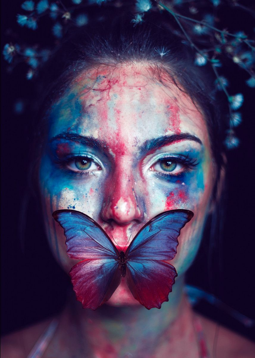 'Woman butterfly face' Poster Print by Rachid Benhmaida | Displate