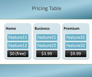 Free Pricing Table Powerpoint Template Free Ppt Template With A