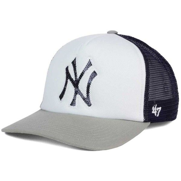 3e227536ec3  47 Brand Women s New York Yankees Glimmer Captain Snapback Cap (£24) ❤  liked on Polyvore featuring accessories