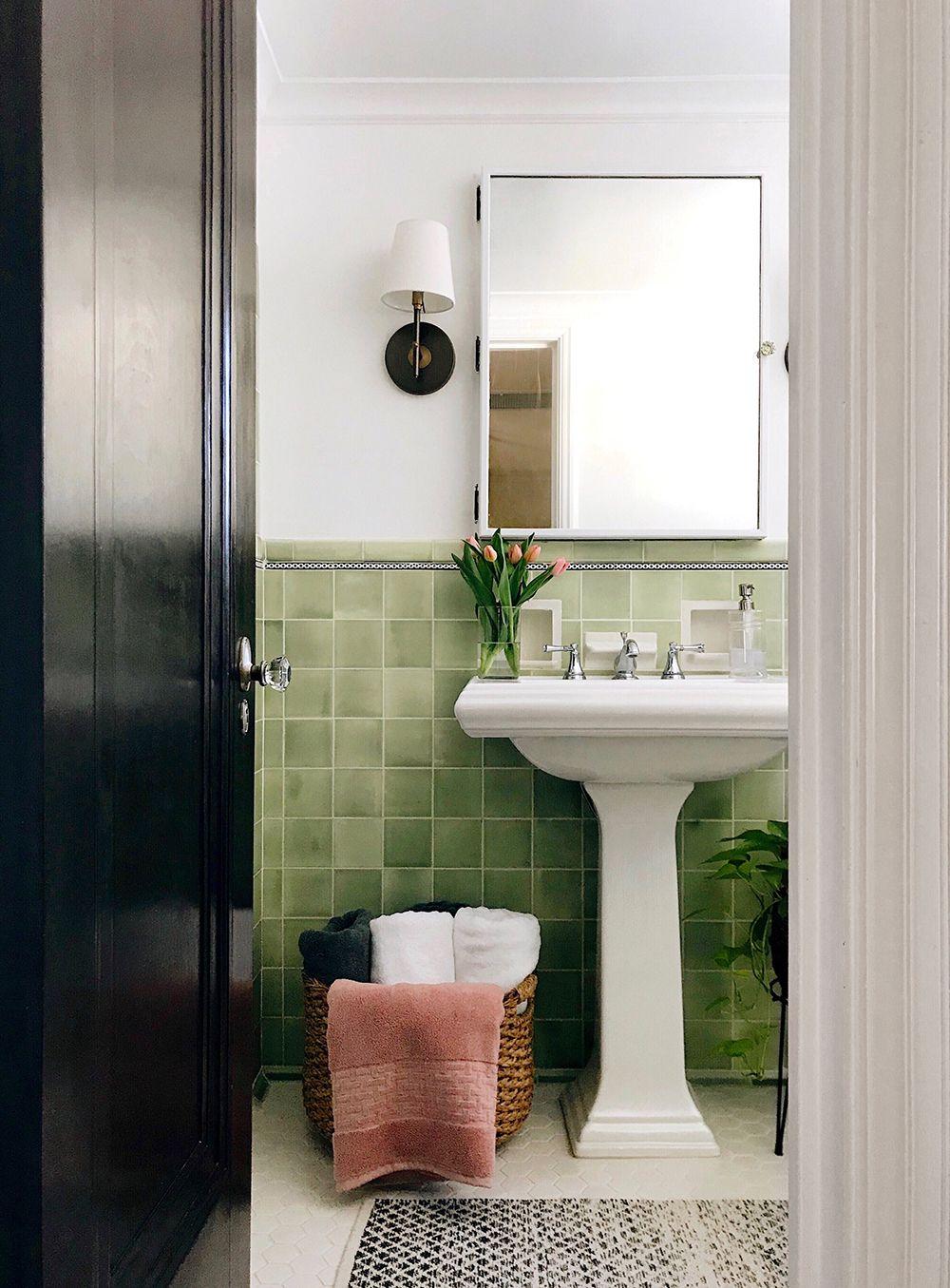 10 Pins Pinterest Inspiration Room For Tuesday Blog In 2020 Bathroom Tile Diy Bathroom Flooring Vintage Bathrooms