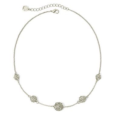 Monet® Silver-Tone & Clear Crystal Fireball Necklace - jcpenney
