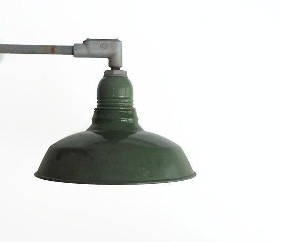Vintage Enamel Gooseneck Barn Light Fixture Elbowed Barn Light Metal Light Fixture Exterior Lighting Outdoor Lights Sconce Lighting