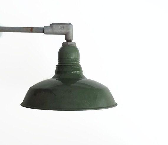Vintage Enamel Gooseneck Barn Light Fixture Elbowed