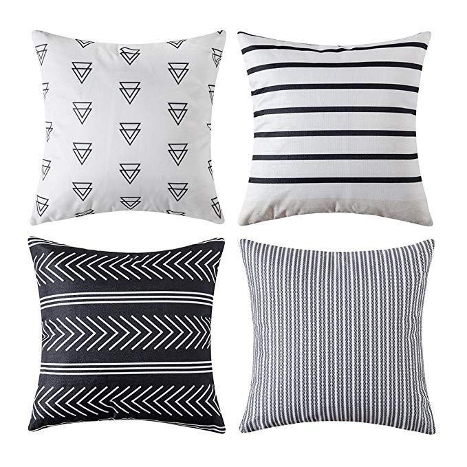 Amazon Com Miulee Set Of 4 Decorative Geometric Outdoor Pillow Covers Modern Cotton Cushion Covers Eur Geometric Pillow Covers Outdoor Pillow Covers Couch Bed