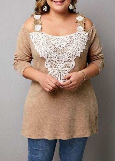 Crochet Embellished Cold Shoulder Plus Size T Shirt
