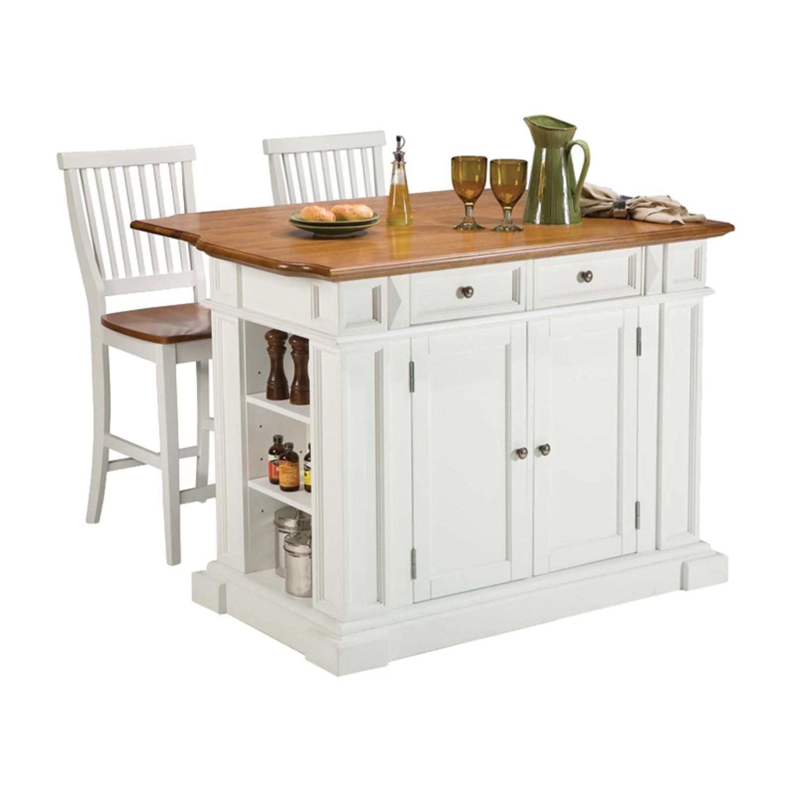 Home Styles Large Kitchen Island Set With 2 Stationary Stools Antique White Oak Portable Kitchen Island Chairs For Kitchen Island White Kitchen Island