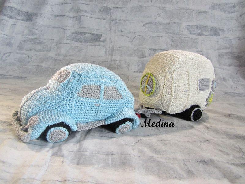 Flower Power Wohnwagen und Auto Häkelanleitung   Amigurumi and Crochet