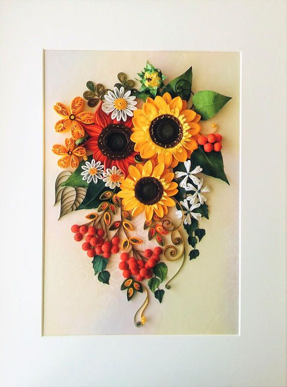 Autumn paper bouquet, Paper quilling, Pretty Flowers, Sunflowers decor, Quilled sunflowers, Quilled wall art, Art decor, Quilled paper art #sunflowerbedroomideas