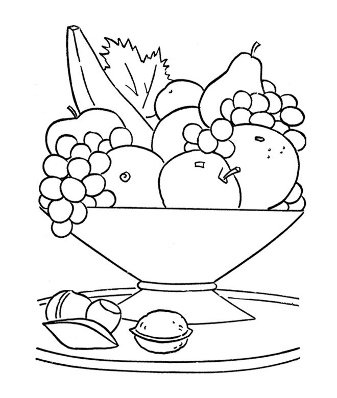 Fruit Bowl Coloring Page » Printable Coloring Page » Artus Art | 780x660