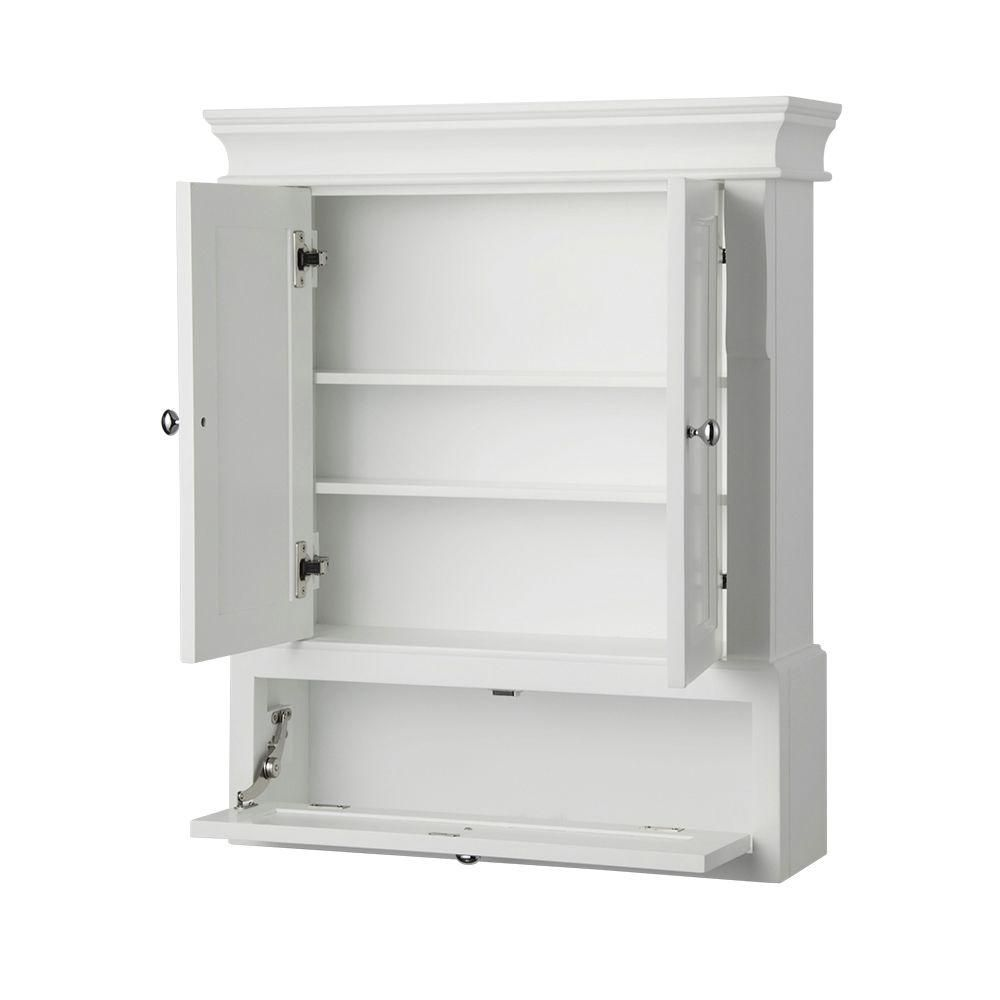 Bon Foremost Naples 26 1/2 In. W X 32 3/4 In. H X 8 In. D Bathroom Storage Wall  Cabinet In White NAWO2633   The Home Depot