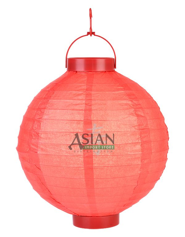 14 Red 16 Led Round Battery Operated Paper Lantern W Built In