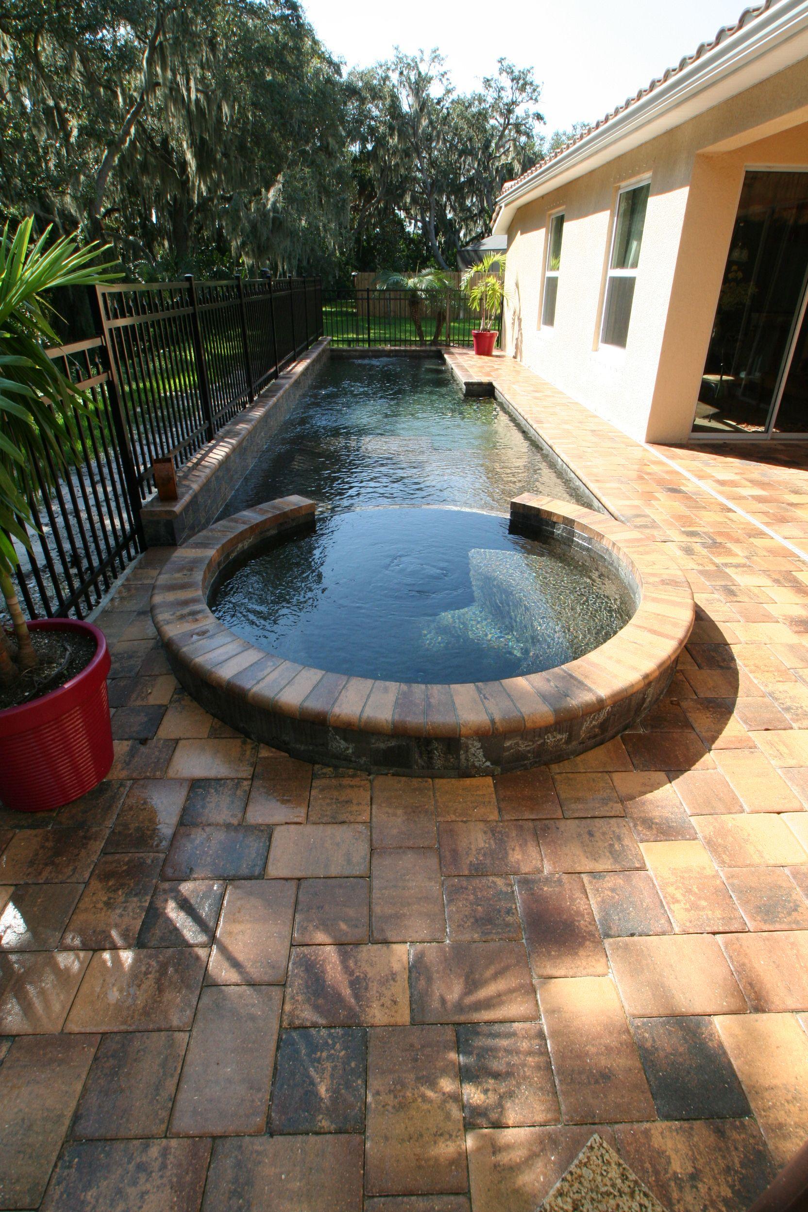 Spa And Lap Pool By Duwet Inc Backyard Pool Swimming Pool Designs Swimming Pools Backyard