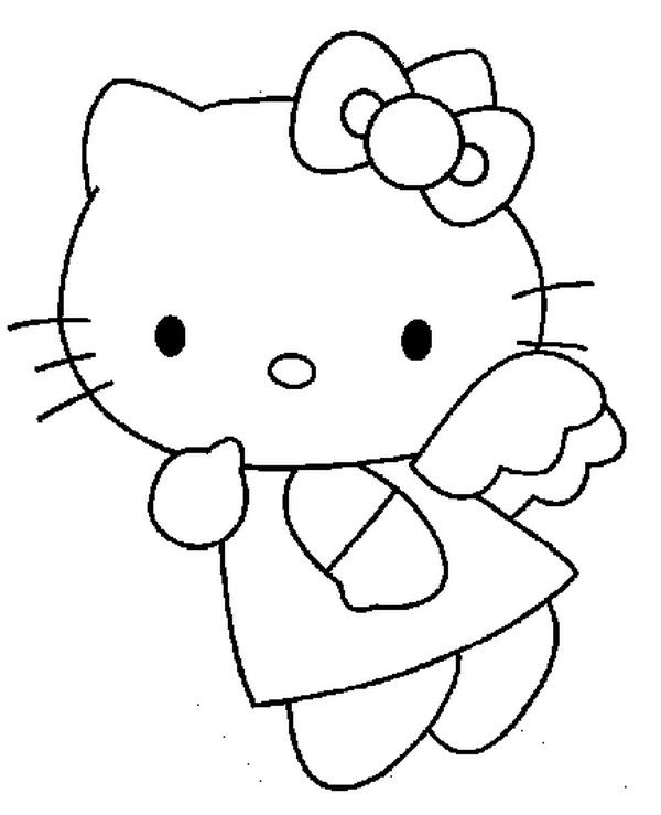 angel kitten coloring pages | Hello Kitty Angel coloring page | Hello Kitty Coloing ...