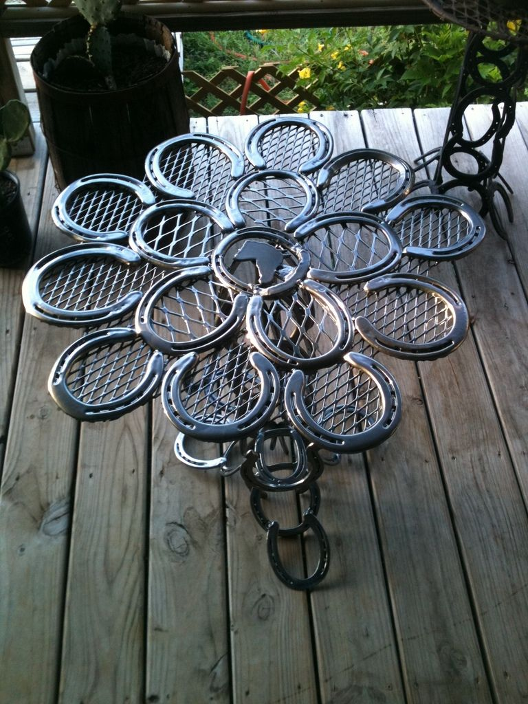 The Cowboyu0027s Patio Table : Constructed From Used Horse Shoes. The Table Is  Powder Coated. Patio TablesHorseshoe ...