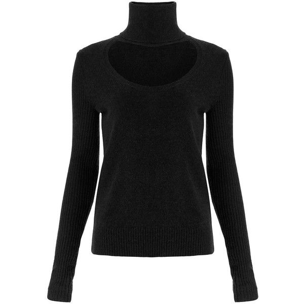 DVF GRACEY CUT-OUT TURTLENECK SWEATER ($198) ❤ liked on Polyvore featuring tops, sweaters, black, cut out top, turtleneck sweater, knit pullover, diane von furstenberg and cut-out sweaters