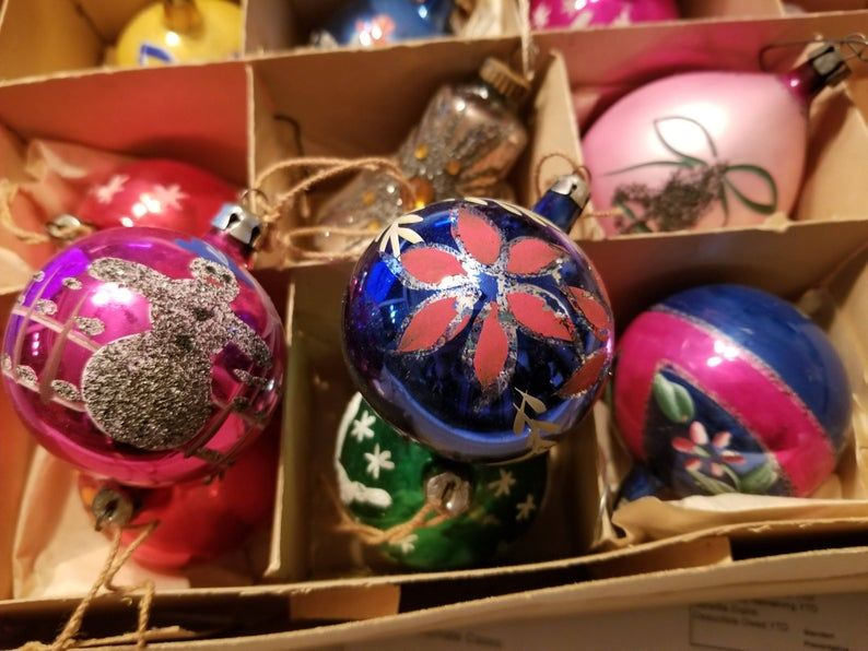 Box 12 Old 1940 S Mercury Glass Ornaments Made In Poland Etsy In 2020 How To Make Ornaments Mercury Glass Ornaments Glass Ornaments