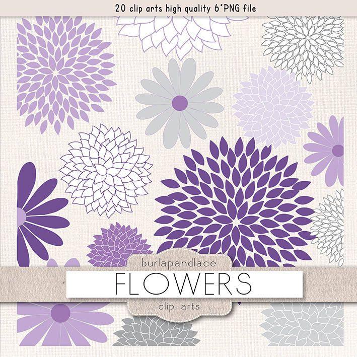 Clipart Flower Cliparts Dahlia Purple 1burlapandlace