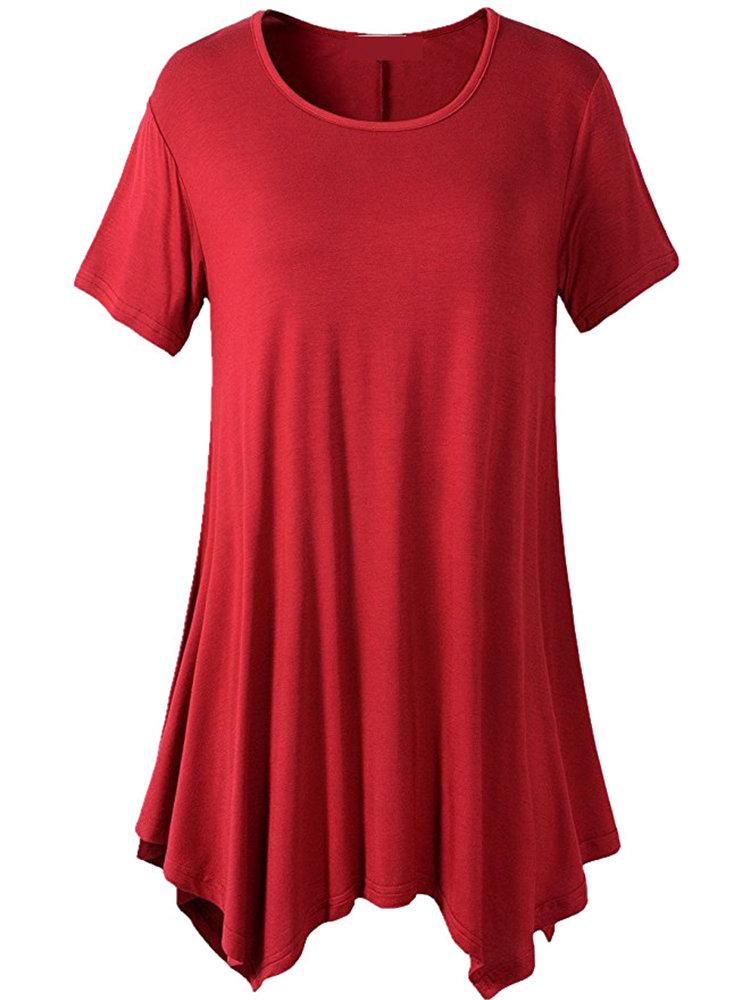 63fcb56b22e Casual Women Short Sleeve Irregular Hem Pure Color T-shirtsCasual Women  Short Sleeve Irregular Hem
