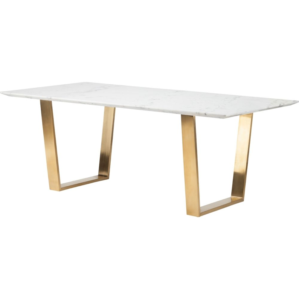 Dining Table With Gold Legs Part - 49: Nuevo Modern Furniture HGSX139 Catrine Dining Table White Marble Top  Brushed Gold Stainless Base