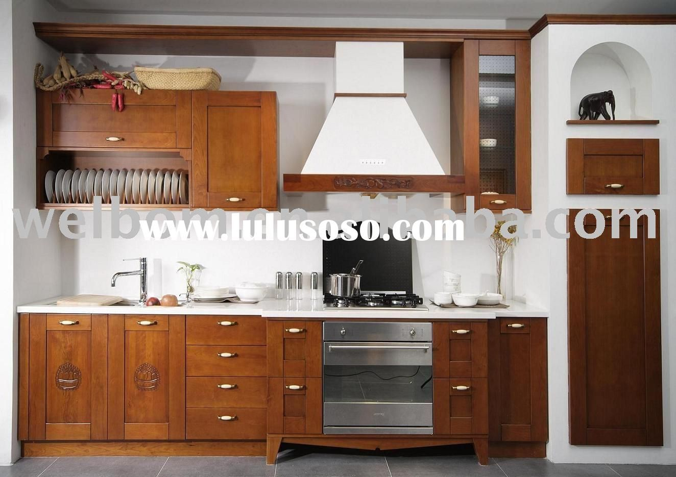 Wood Cabinets With White Countertops Kitchen Cabinets Decor Kitchen Interior Solid Wood Kitchen Cabinets