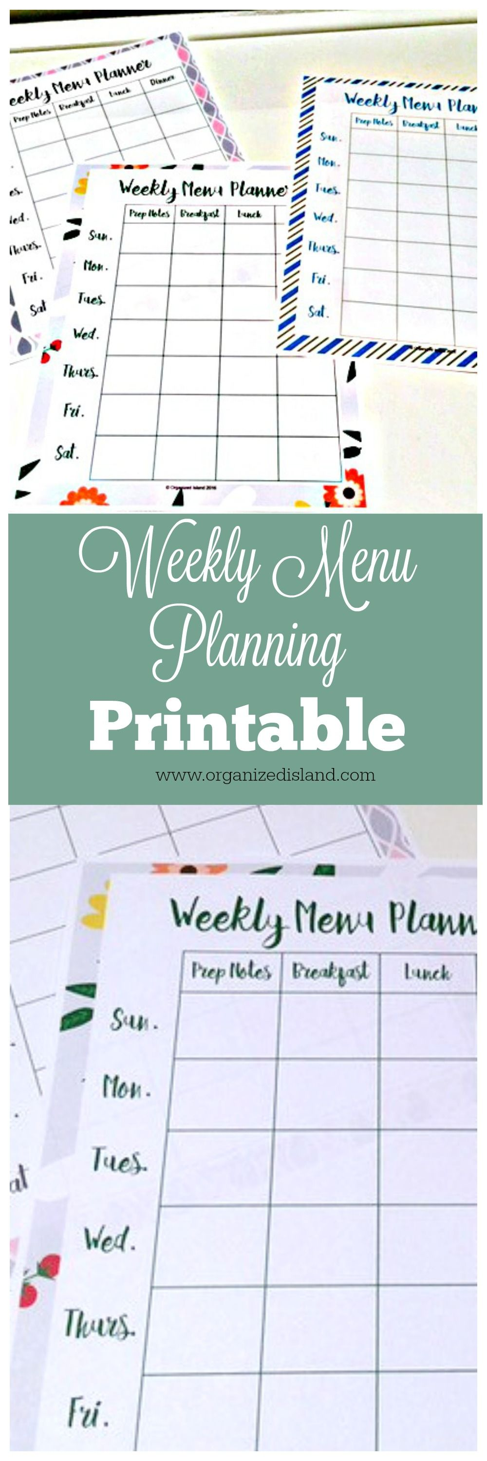 Menu Planning Template   Menu Planning Templates Weekly Menu