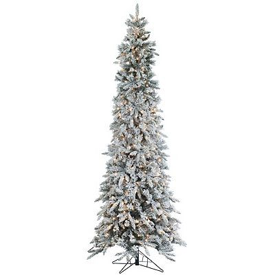 cheap for discount a01b0 cb5a1 Product Details 9 ft. Pre-Lit Flocked Pencil Pine Christmas ...