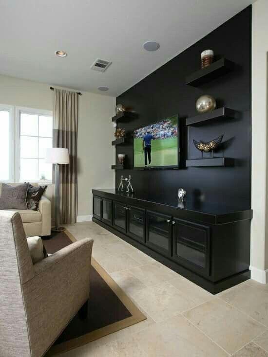 Huge Black Cabinet Living Room Tv Wall Media Room Design