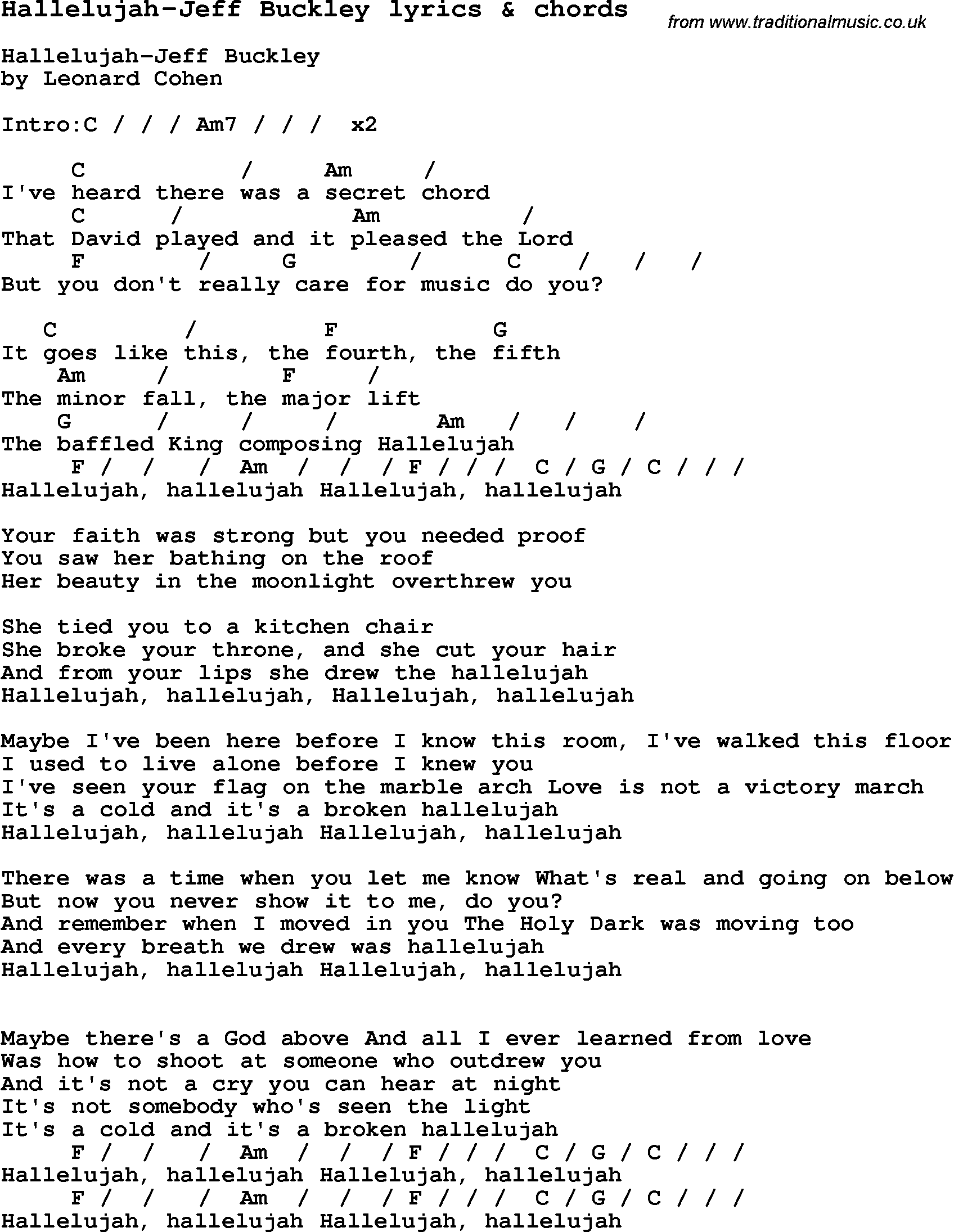 Love song lyrics forhallelujah jeff buckley with chords music love song hallelujah jeff buckley with chords and lyrics for ukulele guitar banjo and other instruments hexwebz Images