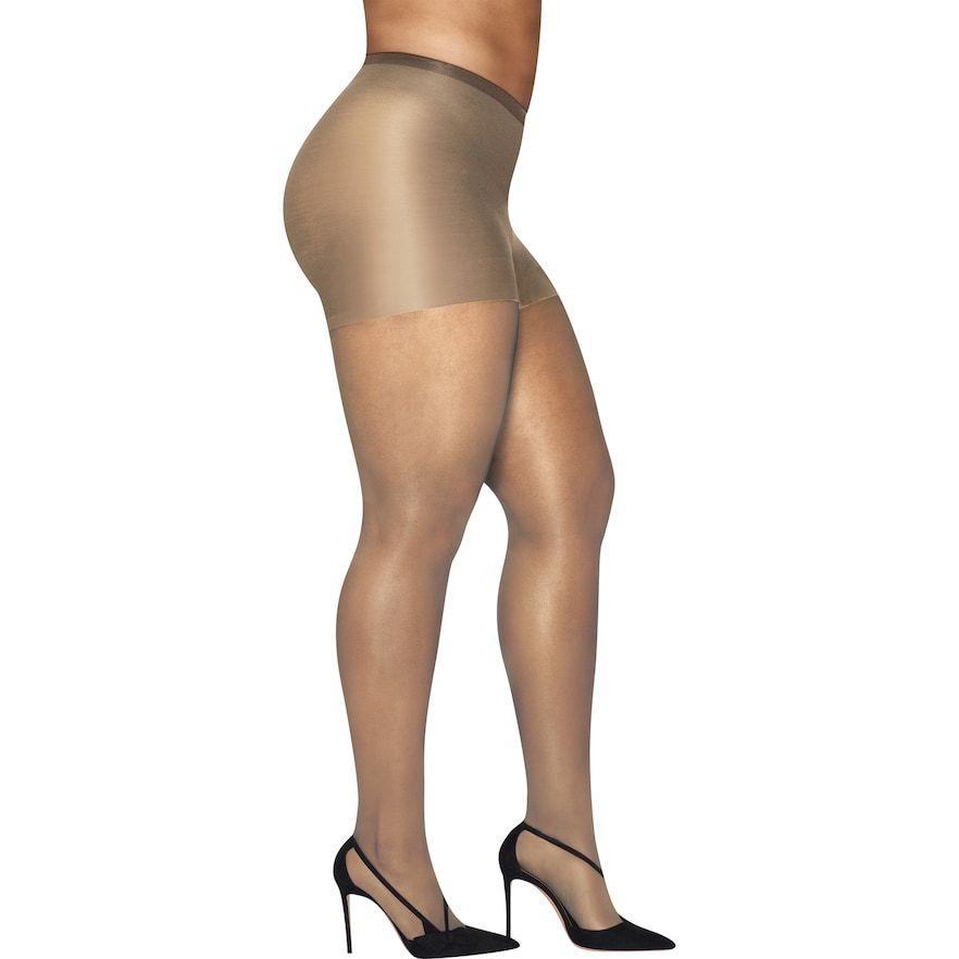 950f1693e648 Plus Size Hanes Curves Silky Sheer Control Top Pantyhose, Women's, Size:  3X-4X, Dark Beige