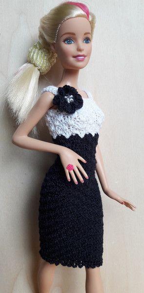 Puppenkleidung Barbie Kleid Gehäkelt Marineblauweiß Ein