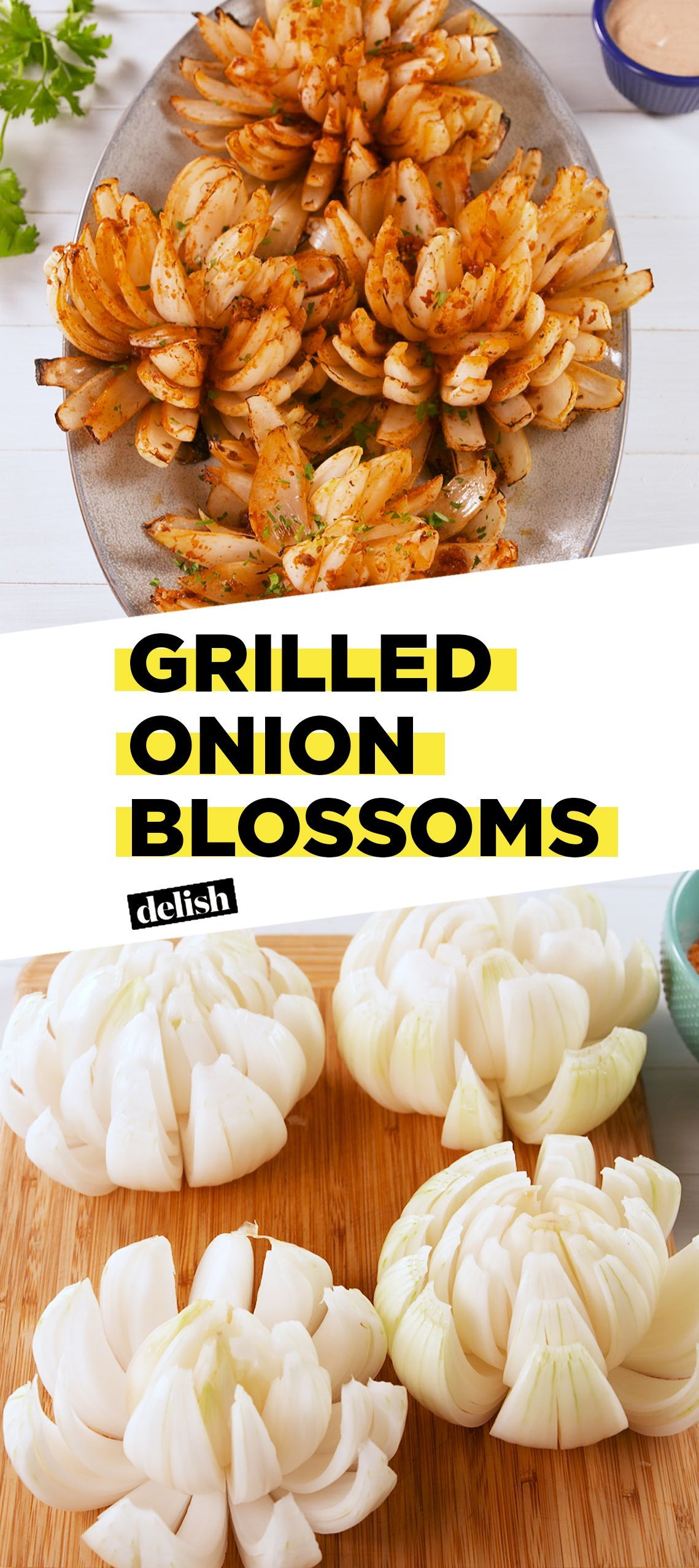 Grilled Onion Blossoms Grilled Onion Blossoms are the low-carb version of bloomin' onions. Get the recipe at .