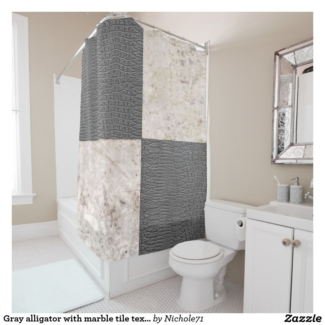 Gray alligator with marble tile texture shower curtain alligator