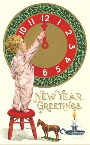 new year greetings victorian boy with clock stretched canvas print