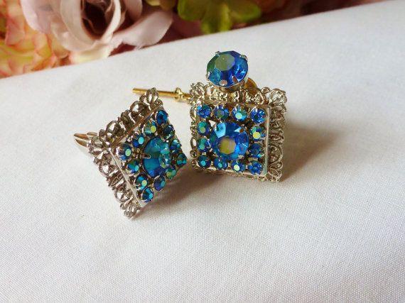 Vintage Cufflinks Aurora Borealis Blue Rhinestone by vintagelady7, $22.00
