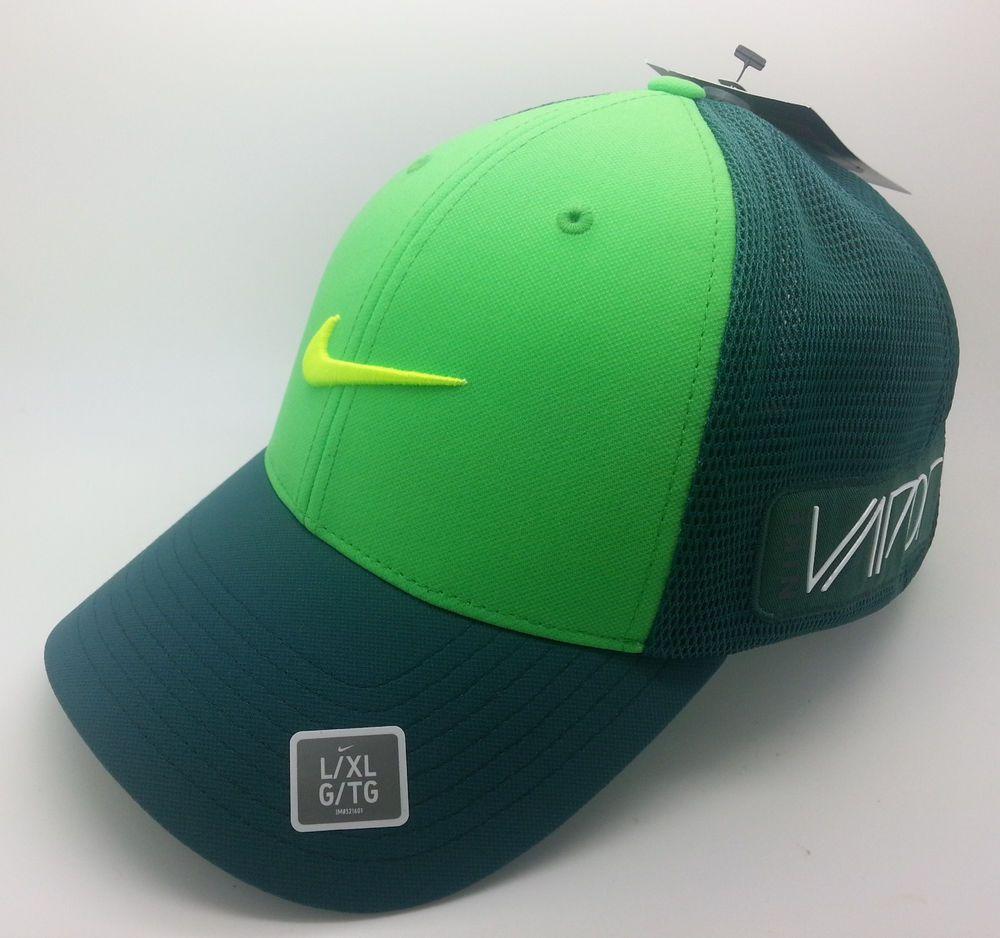 3f30664f121 Nike golf rzn vapor dri-fit flexfit two tone green mesh hat cap ...
