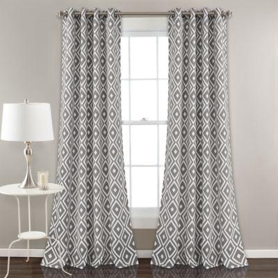 Diamond Geometric 84 Grommet Room Darkening Window Curtain Panel Pair In Grey Curtains Window Curtains Room Darkening
