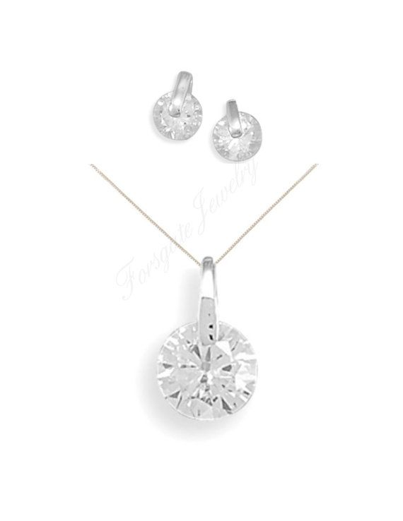Sterling Silver CZ with Silver Bar Pendant by ForsgateJewelry
