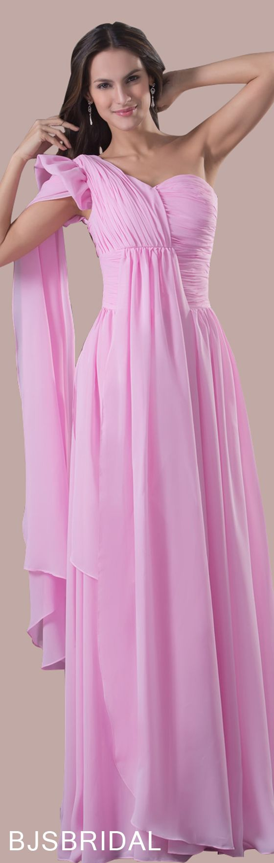 f6d69f26ac4 Baby Pink Elegant A-line Asymmetric Neckline Sleeveless Zipper Ruching  Bridesmaid Dress
