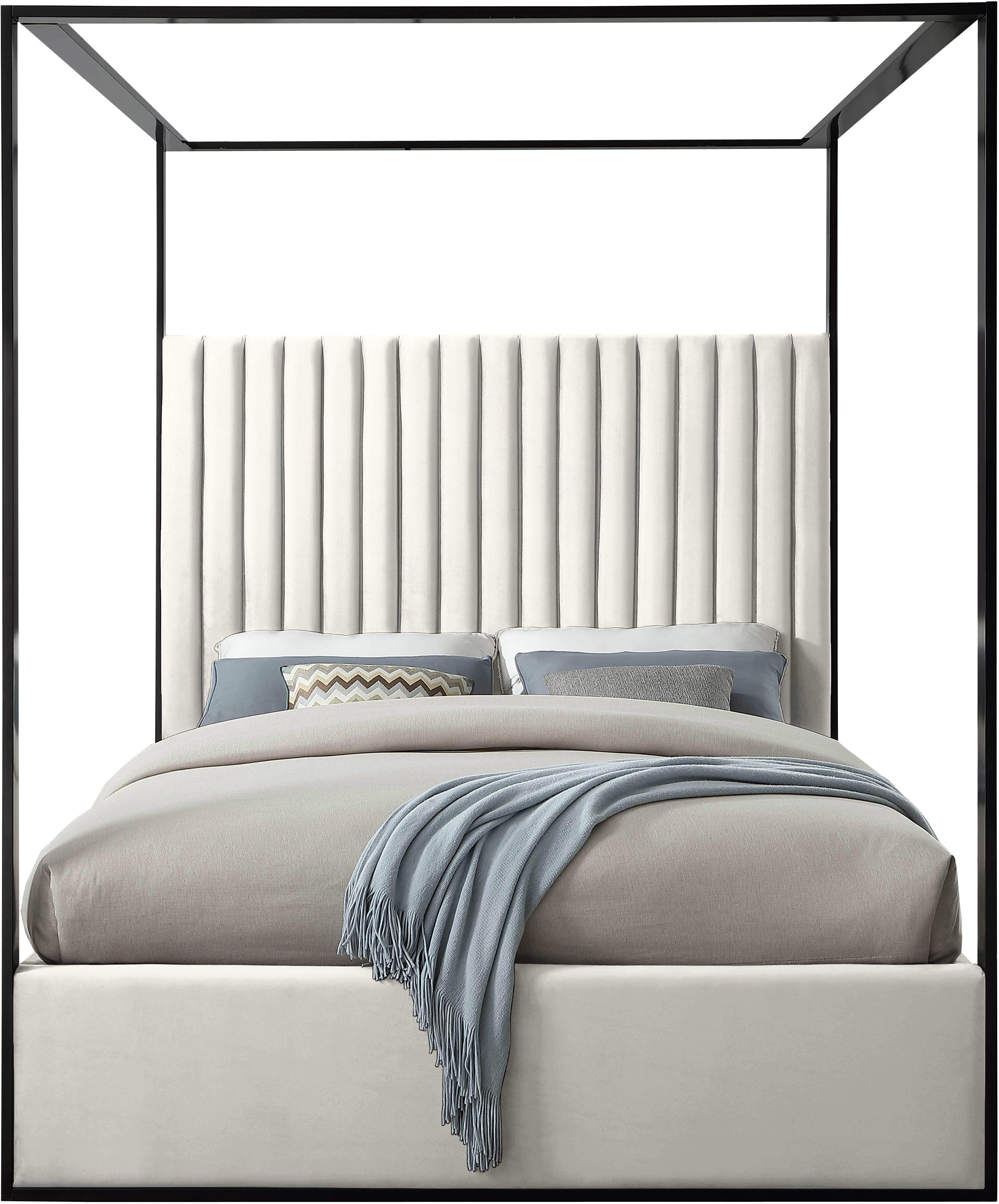 Meridian Jax Cream Contemporary Velvet Canopy Queen Bed In