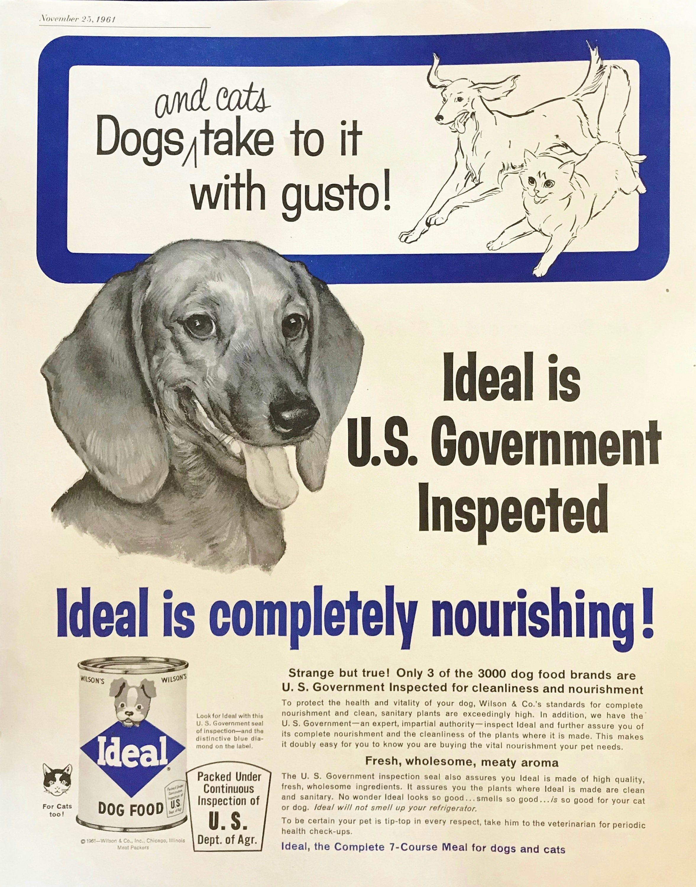 1961 Dachshund Ideal Dog Food Advertisement for sale at