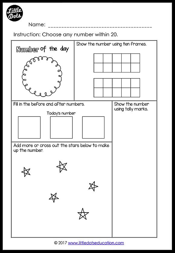 Free Number Of The Day Printable And Worksheet For K 2 Kindergarten Math Ten Frames Calendar Math Worksheets