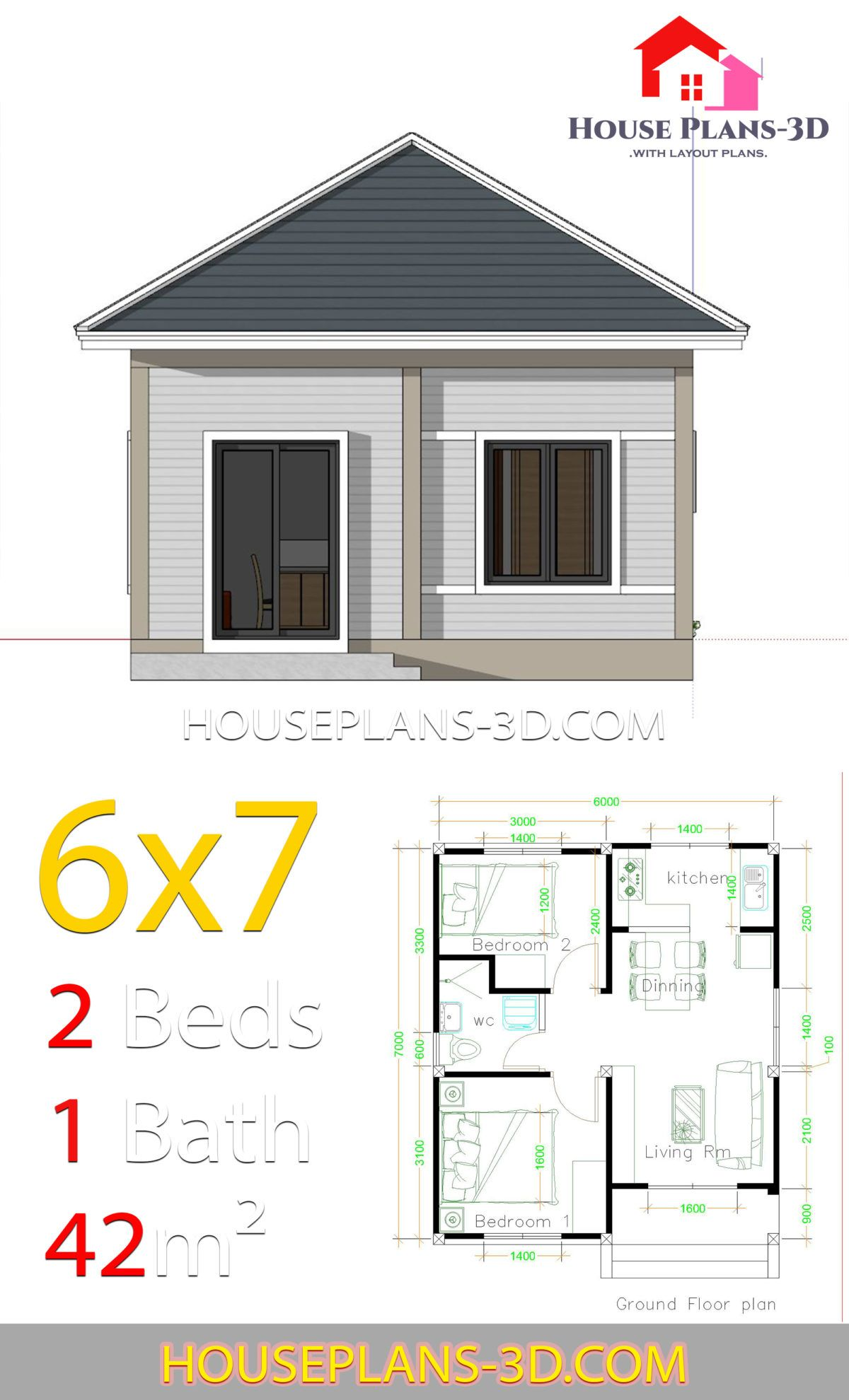 Simple House Plans 6x7 With 2 Bedrooms Hip Roof House Plans 3d In 2020 House Construction Plan Small House Design Plans House Plans