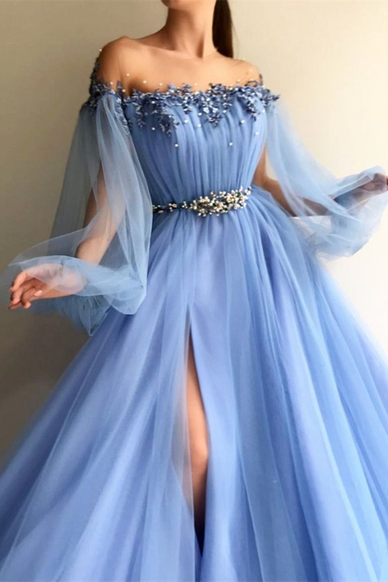 Custom Made Round Neck Baby Blue Tulle Long Sleeves Prom Dresses Blue Long Sleeves Formal Dresses In 2021 Trendy Prom Dresses Prom Dresses Long With Sleeves Tulle Prom Dress [ 1152 x 768 Pixel ]