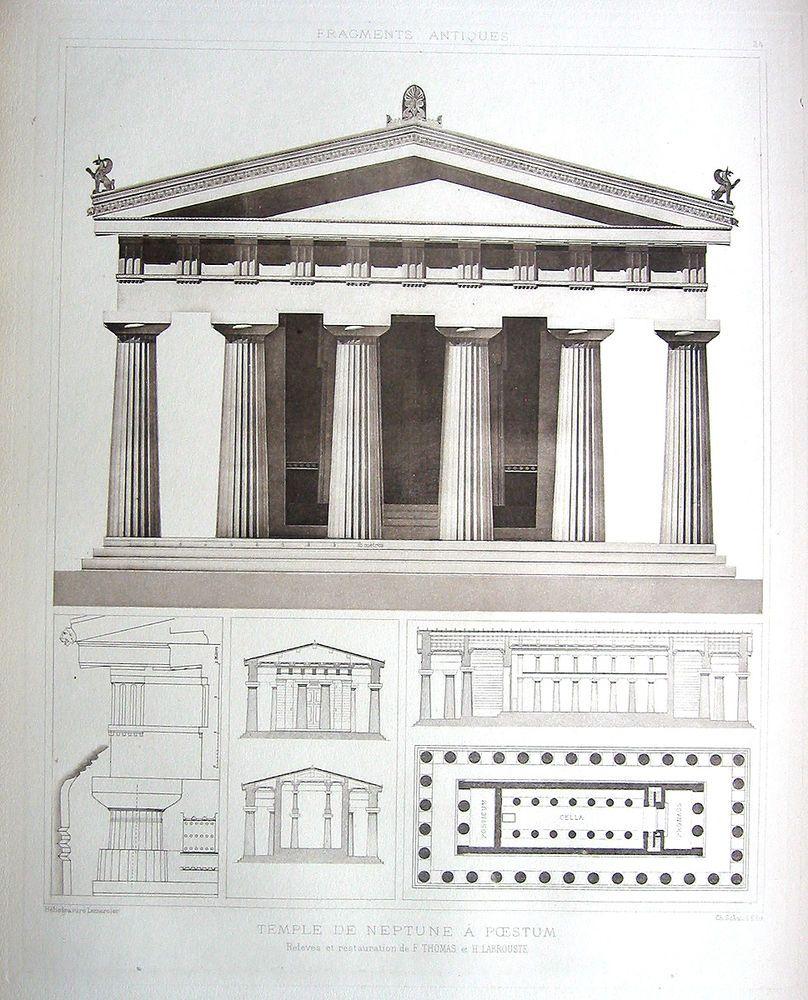 24 SECOND TEMPLE OF HERA PAESTUM DESPOUY 1905 GREEK Architecture Art Print